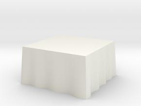 "1:48 Draped Table - 48"" square in White Natural Versatile Plastic"