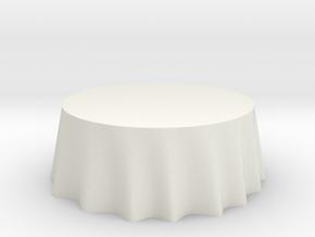 "1:48 Draped Table - 72"" diameter in White Natural Versatile Plastic"