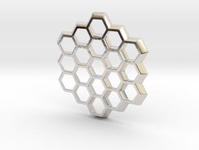 Honeycomb Slice Pendant in Rhodium Plated Brass