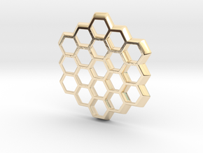 Honeycomb Slice Pendant in 14k Gold Plated Brass