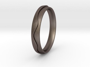 Layered Ring in Polished Bronzed Silver Steel