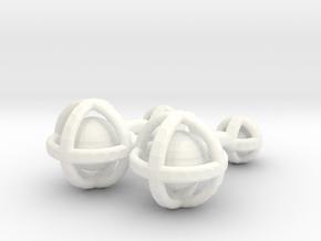 Ball In Sphere Cufflinks in White Processed Versatile Plastic