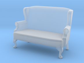 1:43 Queen Anne Wingback Settee in Frosted Ultra Detail