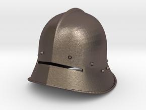 1:6 sallet helmet in Polished Bronzed Silver Steel