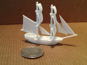 Lady Washington (aka HMS Interceptor) in White Natural Versatile Plastic