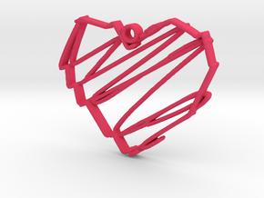 Sketch Heart Pendant in Pink Processed Versatile Plastic