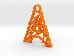 "Sketch ""A"" Pendant in Orange Strong & Flexible Polished"