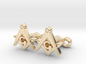 Square And Compass Freemason Cufflinks in 14K Yellow Gold