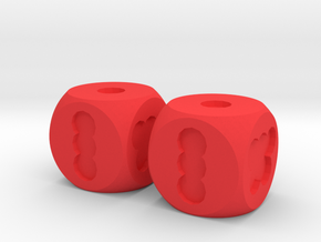 Two Hole Dice, Standard Size 16mm in Red Processed Versatile Plastic