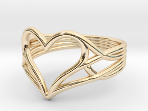 Woven Heart Ring - Larger (Size 7) in 14k Gold Plated Brass