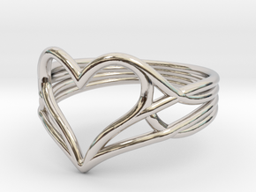 Woven Heart Ring - Larger (Size 7) in Rhodium Plated Brass