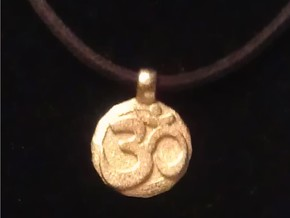 Small Om Pendant in Polished Gold Steel
