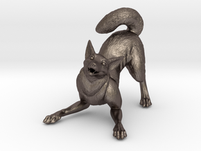 Playful Wolf in Polished Bronzed Silver Steel