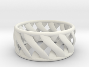 Twist Ring II in White Natural Versatile Plastic