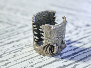 Gator Ring (US Size 10) in Polished Bronzed Silver Steel