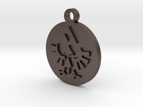 Legend of Zelda Hylian Crest Pendant Necklace in Polished Bronzed Silver Steel