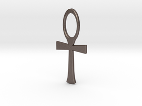Ankh 1 in Polished Bronzed Silver Steel