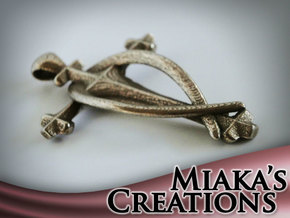 Fish Cross pendant in Polished Bronzed Silver Steel