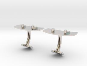 Wakeboard Cufflinks in Rhodium Plated Brass