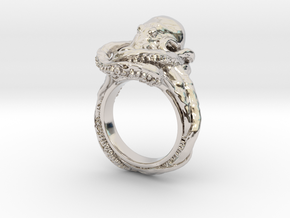 Octopus Ring in Rhodium Plated Brass