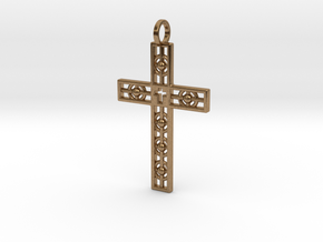 Atomic Cross in Natural Brass