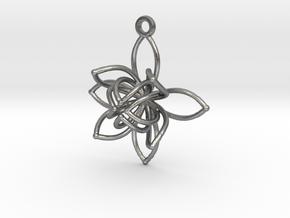 Flower Frame Pendant in Natural Silver
