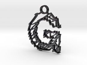 """Sketch """"G"""" Pendant in Polished and Bronzed Black Steel"""