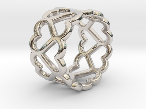 The Ring of Hearts (14 Hearts) Size: Japanese 9 in Rhodium Plated Brass