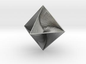 0048 Octahedron Line Design (10 cm) #002 in Natural Silver