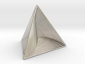 0046 Tetrahedron Line Design (5 cm) #001 in Rhodium Plated Brass