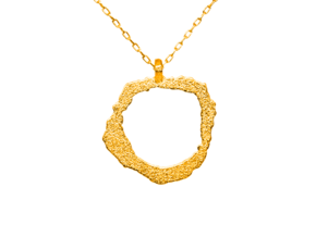 Vesuvius Pendant in Polished Gold Steel
