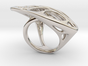 Butterfly Ring [ Size 6 ] in Rhodium Plated Brass