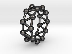 0342 Decagonal Antiprism V&E (a=1cm) #003 in Polished Grey Steel