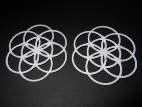 Flower of Life Charm in White Processed Versatile Plastic