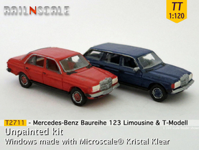 SET 2x Mercedes-Benz W123 (TT 1:120) in Smooth Fine Detail Plastic