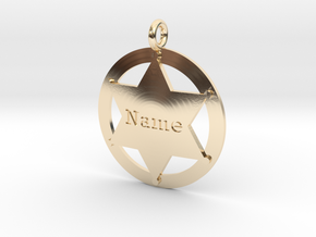 Sheriff's Star (6-point) Pet-Tag/Pendant (Thinner) in 14K Yellow Gold