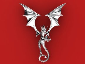 The Great Dragon pendant bronze, silver or gold  in Polished Silver
