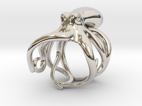 Octopus Ring 16mm in Rhodium Plated Brass