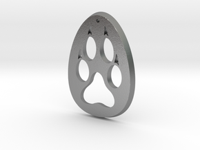Paw Print Medallion in Natural Silver