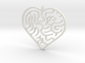 Heart Maze Pendant 3 in White Strong & Flexible