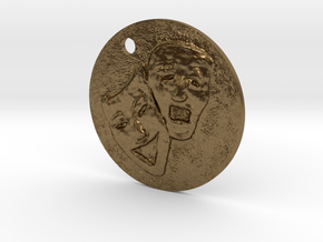 Tragedy Comedy Mask Pendant in Natural Bronze