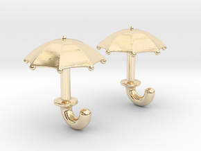 Umbrella Cufflinks in 14k Gold Plated Brass
