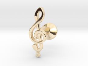 Tenor Treble Clef Cufflink (single) in 14k Gold Plated Brass