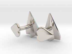 Paper Airplane Cufflinks with Heart Button in Rhodium Plated Brass