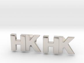 Monogram Cufflinks HK in Rhodium Plated Brass