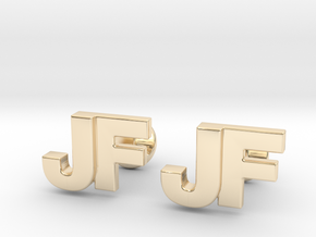Monogram Cufflinks JF in 14k Gold Plated Brass