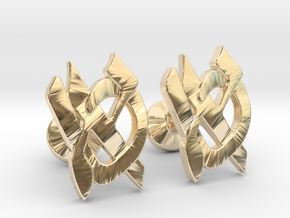 "Hebrew Monogram Cufflinks - ""Aleph Tes"" in 14k Gold Plated Brass"