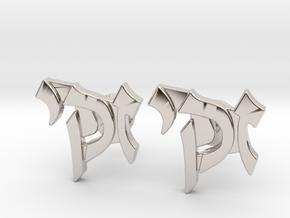 "Hebrew Name Cufflinks - ""Zacky"" in Rhodium Plated Brass"