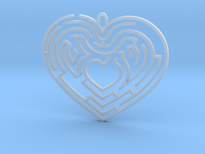 Heart Maze-shaped Pendant 4 in Smooth Fine Detail Plastic