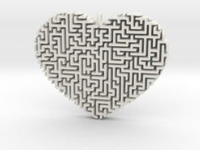 Heart Maze-Shaped Pendant 2 in White Natural Versatile Plastic